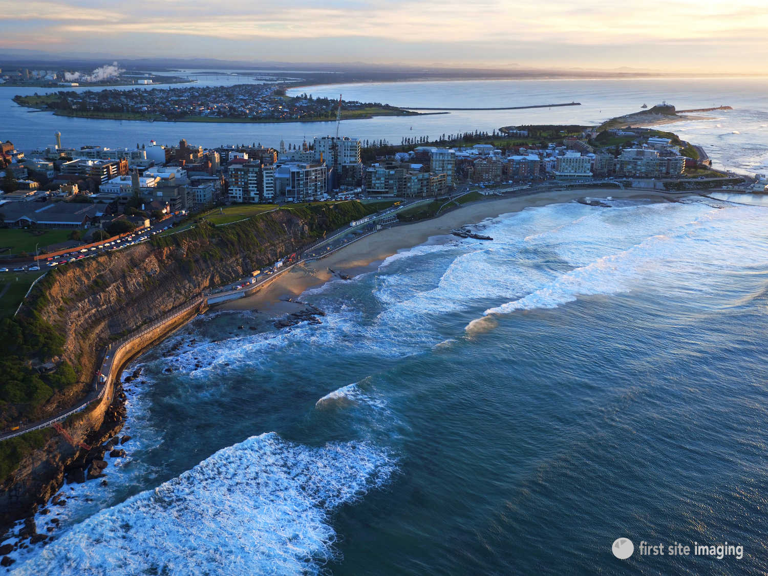 Drone Photograph Of Newcastle City Showing Beach Nobbys And Harbour In The Distance