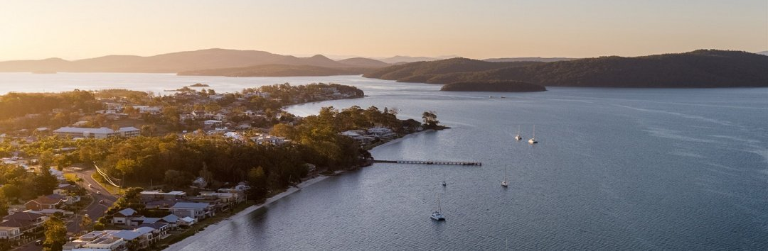 Salamander Bay at sunset taken by a drone